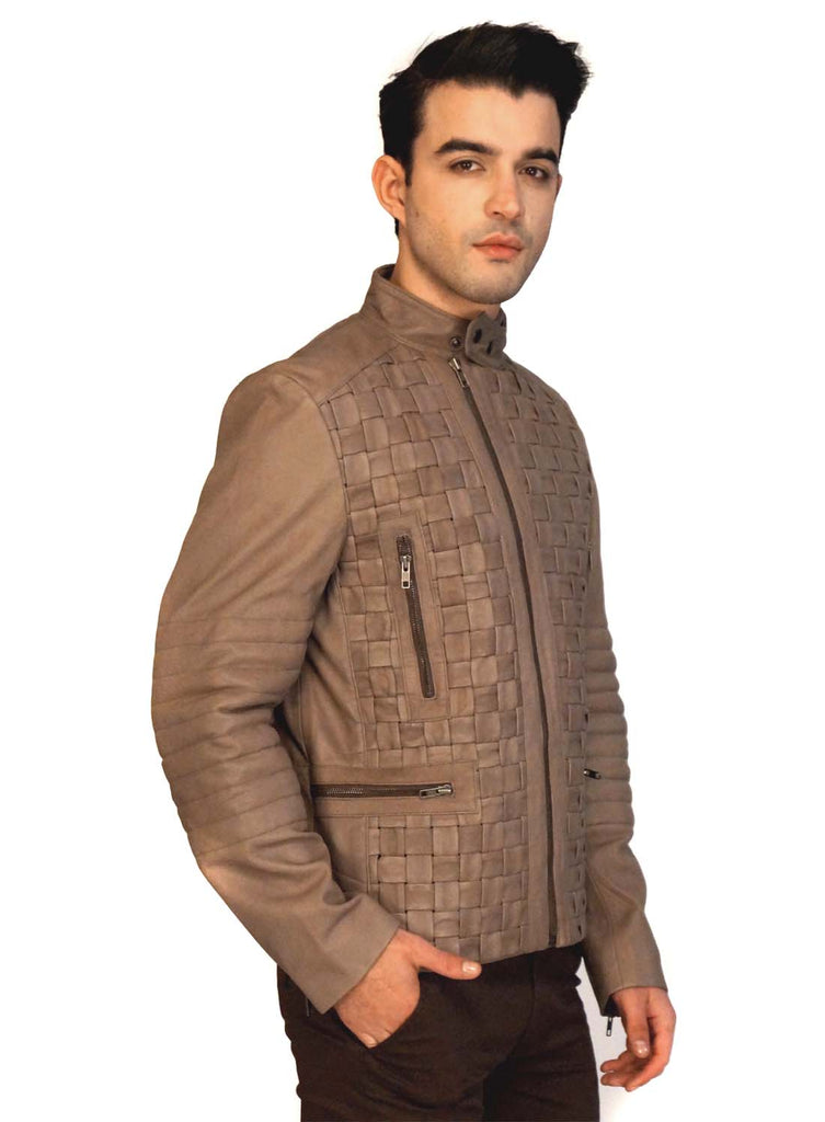 Valen Designer Men MotorBiker Woven Leather Jacket