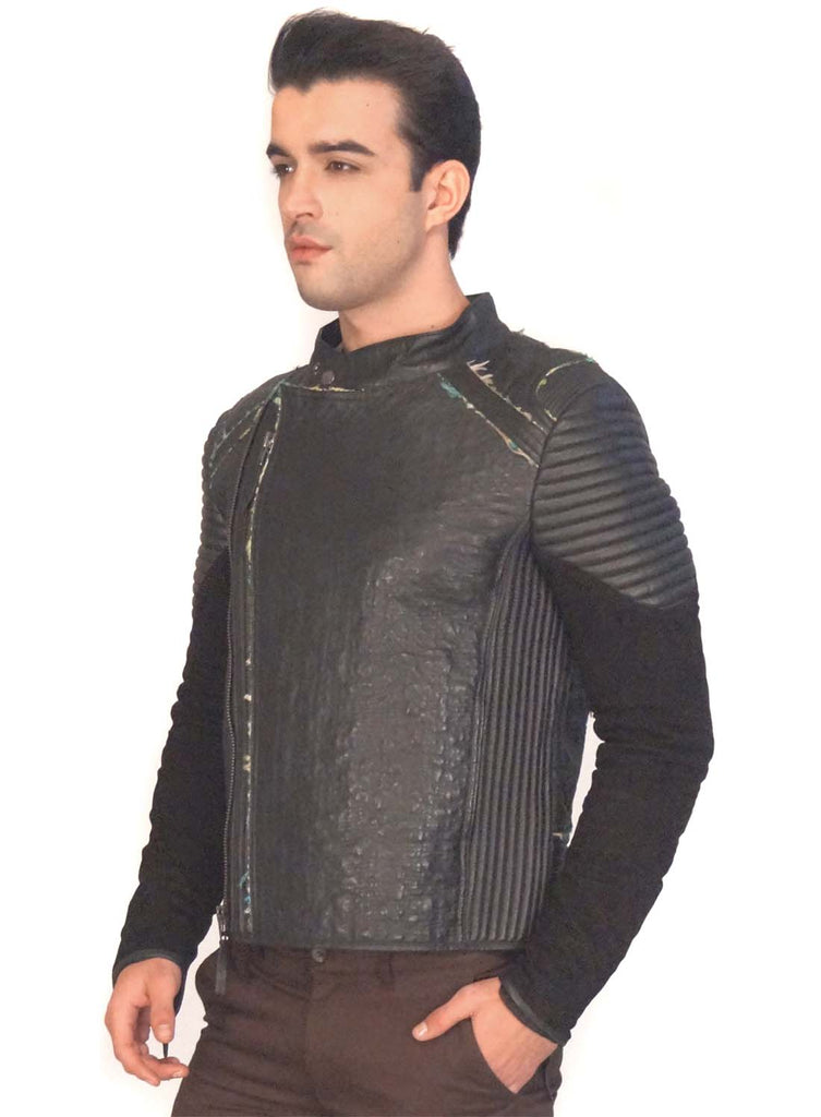 Men Designer Structured Leather Biker Jacket with lining Handmade Fabric