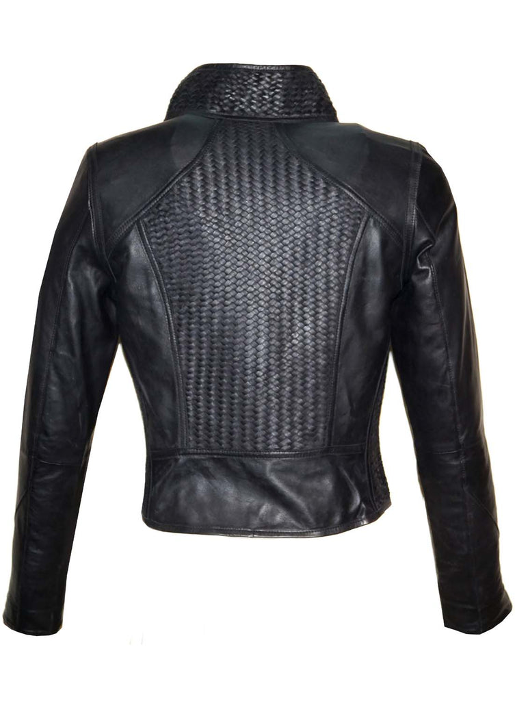 Vinni Leather Designer Women Full Woven Jacket