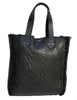 WOMEN CABLE KNIT BONDED TEXTURED LEATHER SHOPPER BAG