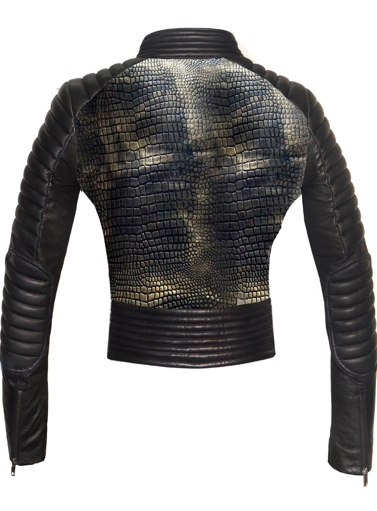 CrabRocks Women Croco Embossed Leather Motorcycle Moto Washed Jacket , Leather Jacket - Crabrocks, LeatherfashionOnline  - 2