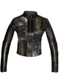 CrabRocks Women Croco Embossed Leather Motorcycle Moto Washed Jacket XS / BLACK / LAMB LEATHER, Leather Jacket - Crabrocks, LeatherfashionOnline  - 1