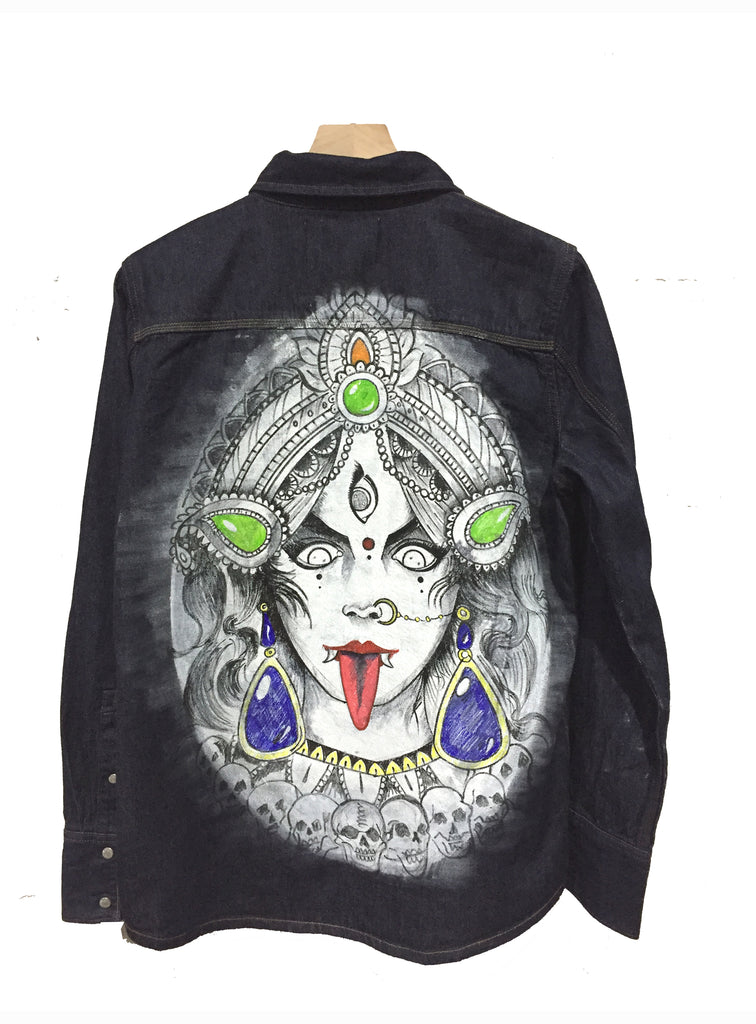 Limited Edition Hand Painted Maa Durga  face  Denim Jacket