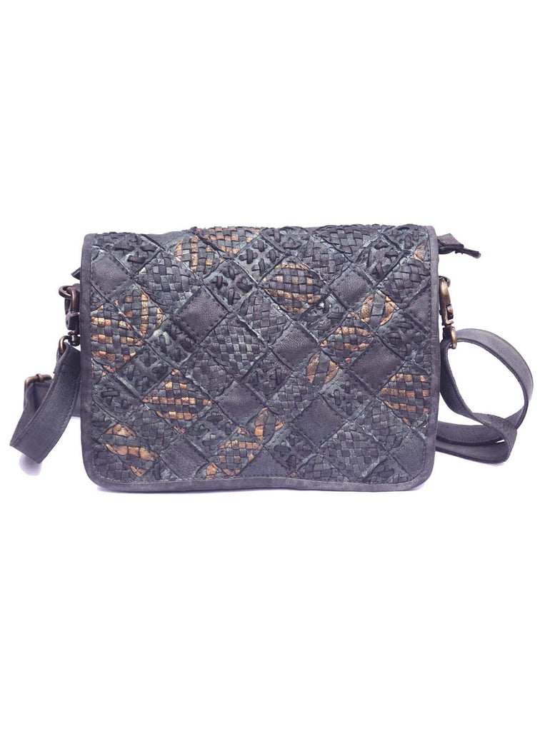 Vannamoda Alecia Abstract HandWeave Cross Body Leather Bag
