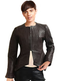 Emma Women Multi Stitch Leather Frock Jacket