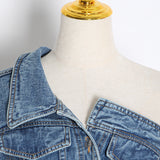 CASUAL IRREGULAR DENIM JACKETS FOR FEMALE LAPEL COLLAR LONG SLEEVE TUNIC SLIM ASYMMETRICAL