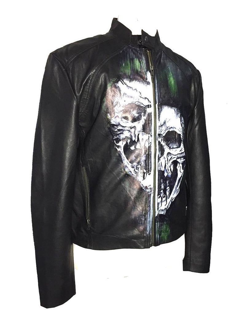 Limited Edition Hand Painted Leather Men Jacket With Distorted Skull