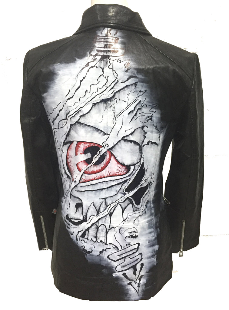 Limited Edition Hand Painted Eye Skull Women leather jacket