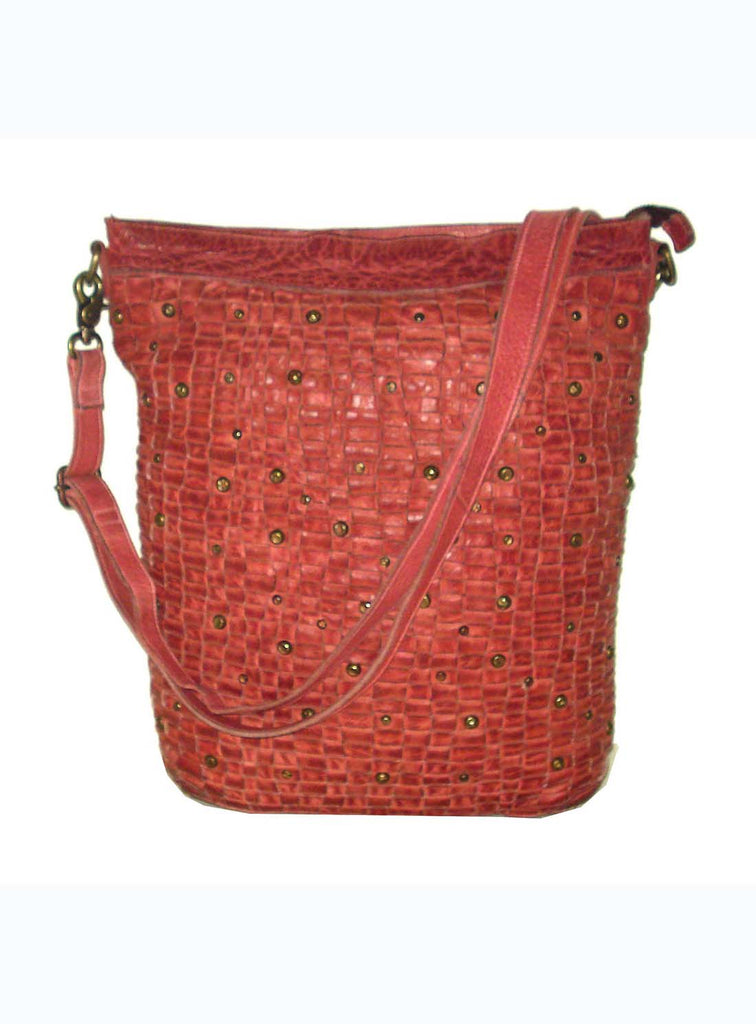 Georgio Woman Leather Weave Hobo Bag and Convertible Back Pack