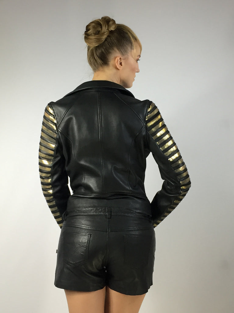 Leather Woman Washed Vintage Motorcycle Biker Jacket