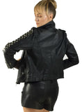 Vannamoda KISHI WOMEN LEATHER BIKER JACKET WITH MULTI STUDS AT SLEEVES