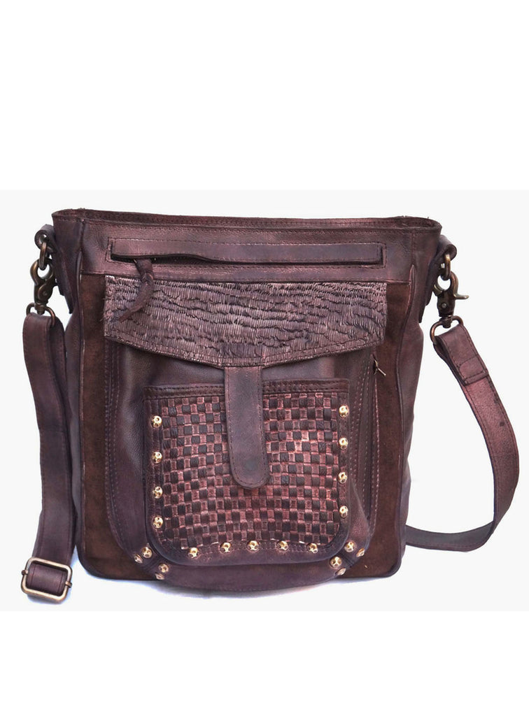 Michael Mens CargoPockets CrossBody Shoulder Leather Bag( Weave Pocket)