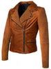 Women Leather Biker Jacket with Two Tone Oil Pull up and Suede Leather , Women Jacket - CrabRocks, LeatherfashionOnline  - 1