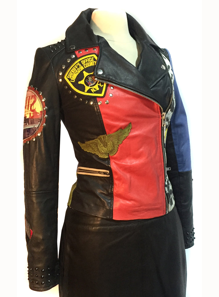 Metro Lamb Leather Woman Punk Jacket