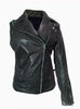 Dual Wear Saints Woman Leather Moto Washed Biker Jacket