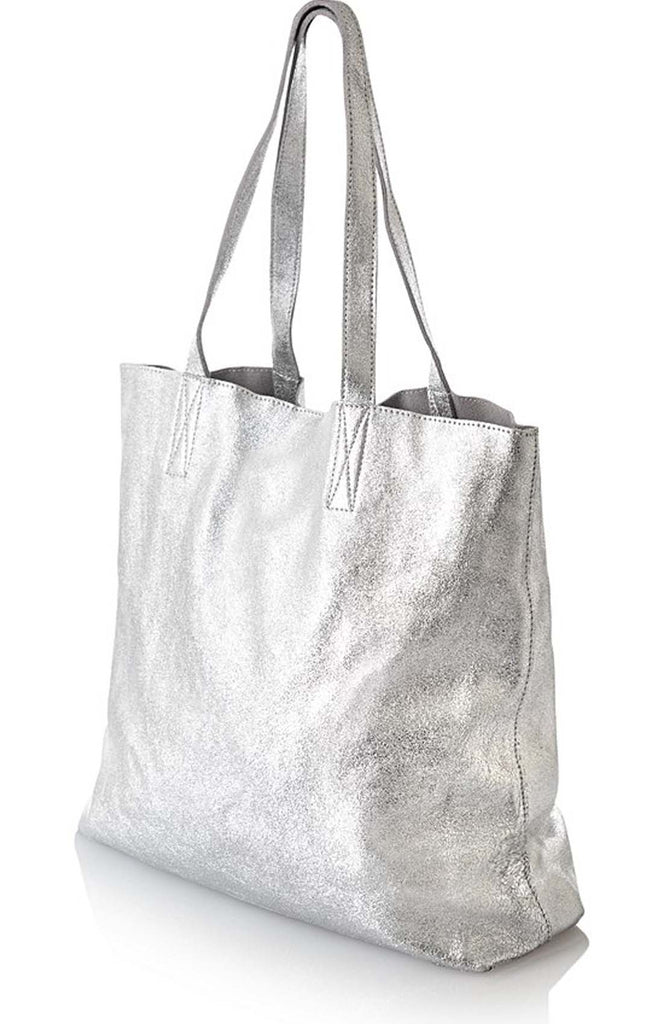 Silver Metallic Women Classic Leather Tote Bag