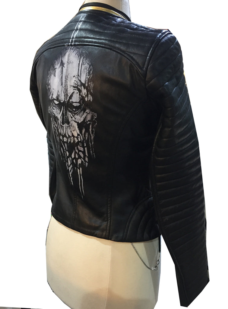Limited Edition hand painted skull women leather jacket at back