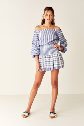 Suboo- Shirred Off Shoulder Mini Dress