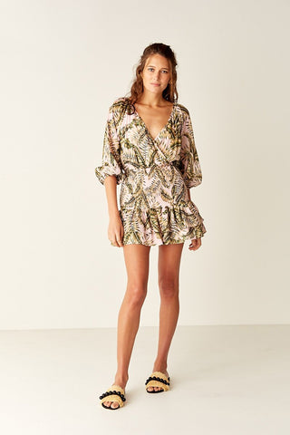 Suboo- Shirred Wrap Mini Dress