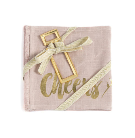 Shiraleah Cheers set of 2 Napkins & Bottle Opener Gift Set