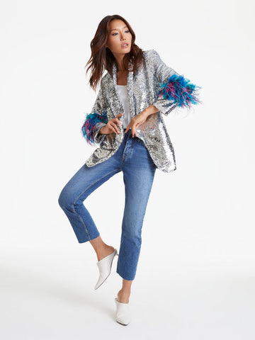 Izaak Azanei- Silver Sequin Feather Cuff Blazer