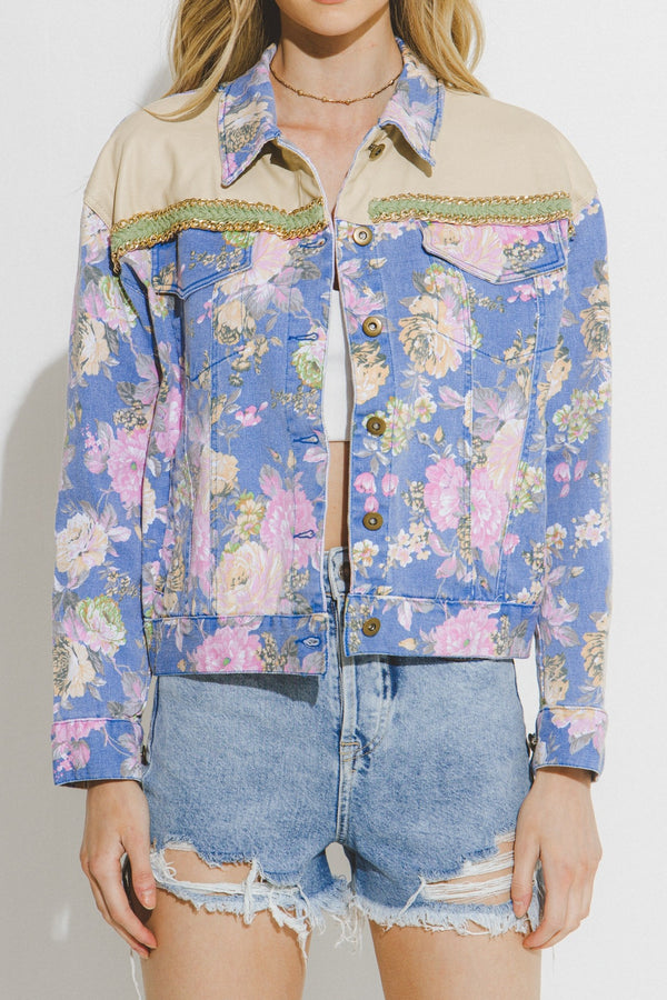 Denim Floral Jacket