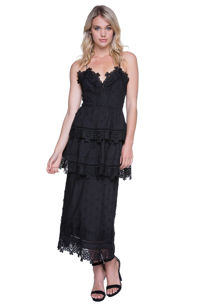 Endless Rose- Black Tier Maxi Dress
