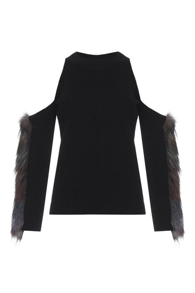Izaak Azanei - Blk Cold Shoulder With Fur Trim
