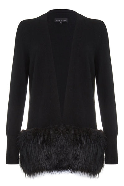 Izaak Azanei - Black Faux Fur Trim Cardigan