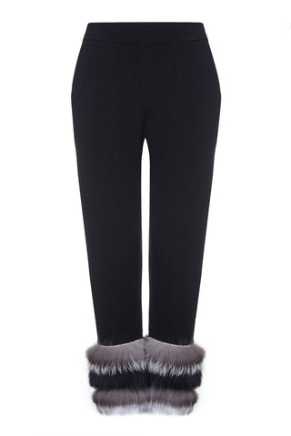 Izaak Azanei - The Black Jacquard Pants with Natural Silver & Black Fur Trim