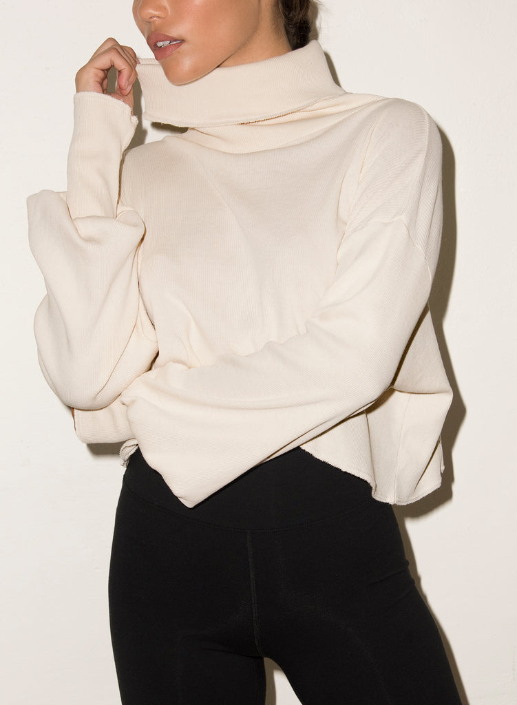 LNA BALLOON SLEEVE RIB TURTLENECK