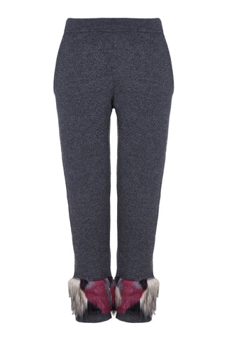 Izaak Azanei - The Grey Jacquard Pants with Multi Color Faux Fur Trim (Faux)