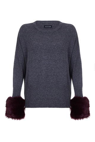 Izaak Azanei - The Charcoal Grey Sweater with Purple Faux Fur Cuffs