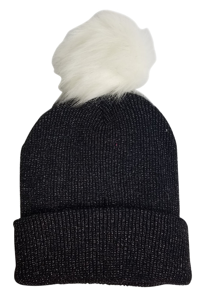 Hat Attack Sparkle Beanie Fur Pom Black