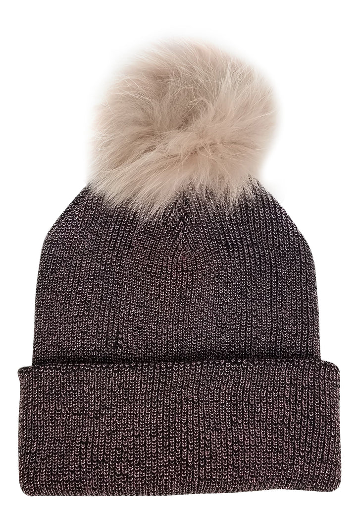 Hat Attack Sparkle Beanie with Real Fur Pom Mauve/Blush