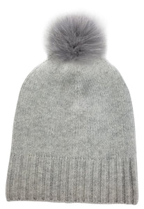 Hat Attack Cashmere Slouchy Cuff Hat Fur Pom