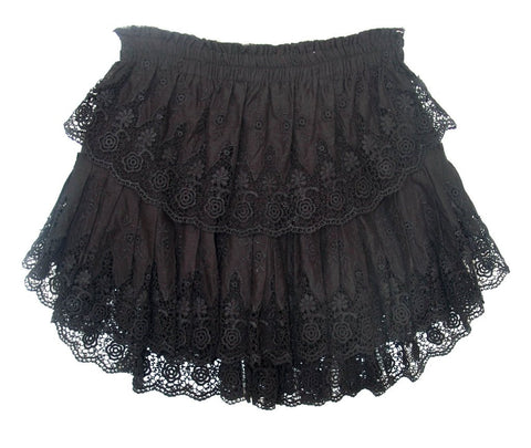 Love Shack Fancy - Ruffle Mini Skirt Black