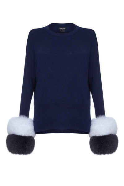 Izaak Azanei - The Dark Blue Sweater with White & Blue Fox Cuffs