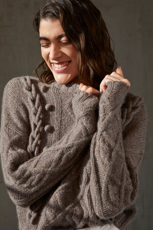Autumn Cashmere Cable Crew with Chain