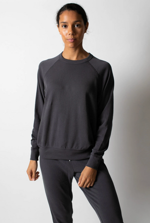 Leallo Dune Solid Crewneck Charocal