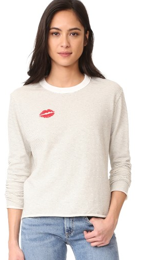 Monrow - Stripe Kiss Sweatshirt