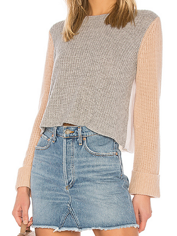 Autumn Cashmere - Cuffed Colorblock Sweater