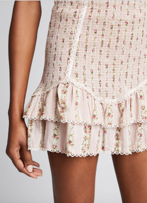 LoveShackFancy Raina Floral Print Smocked Mini Skirt