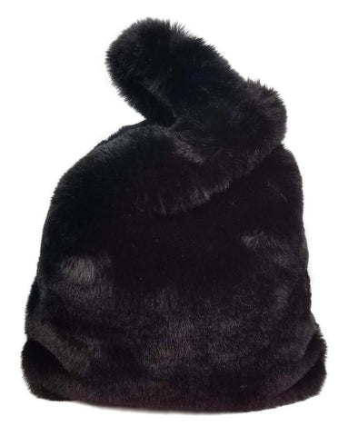 Hat Attack Faux Fur Bag Black