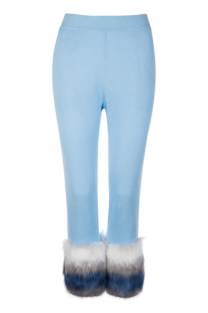 Izaak Azanei - Blue Faux Fur Trim Pants