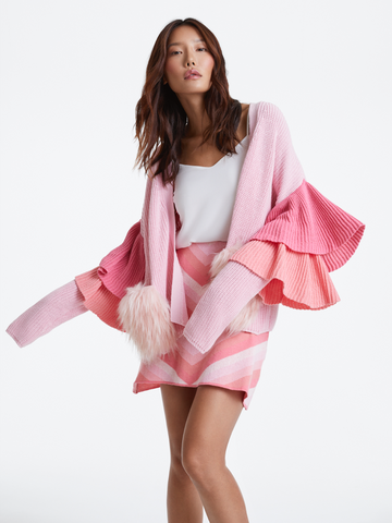 Izaak Azanei - Pink Ruffle Faux Fur Pocket Cardigan