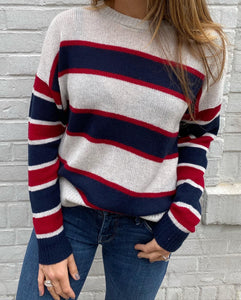 Autumn Cashmere Boxy Stripe Block Crew