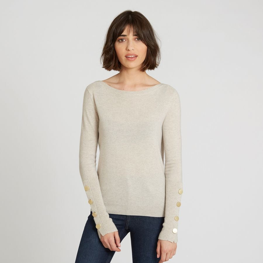 Autumn Cashmere- Boat Neck with Button Cuffs