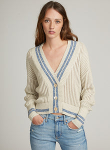 Autumn Cashmere Boyfriend Cardigan with Marbled Stripes