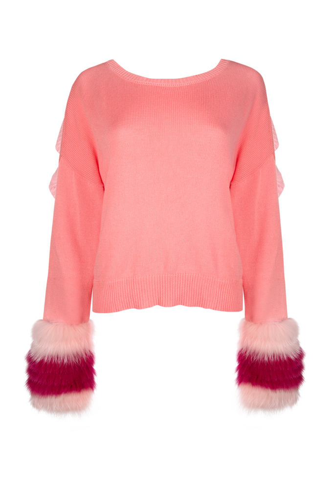 Izaak Azanei - Pink Ruffle Backless Sweater with Fur Cuffs